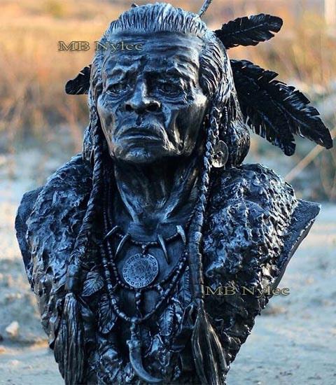 Popiersie indianina - rzeźba ze stali