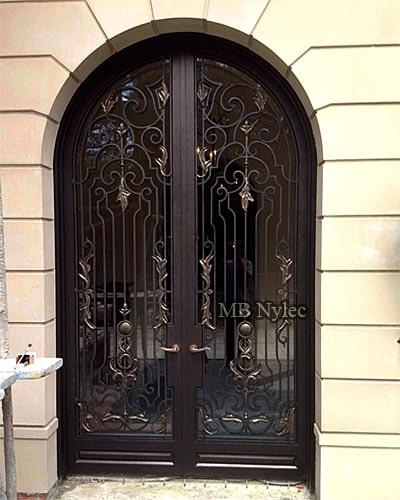 ażurowe drzwi kute ze szkłem dz10