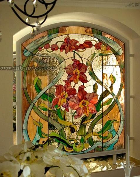 Elegancki witraż wzór kwiatowy