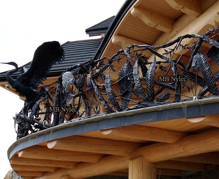 Kuta balustrada myśliwska z czaplą kuta