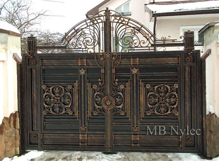 ekskluzywna pełna brama wjazdowa - metal efekt - bp107