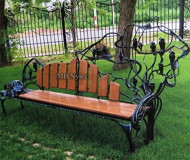 Designerska ławka ogrodowa rzeźba ze stali mk22