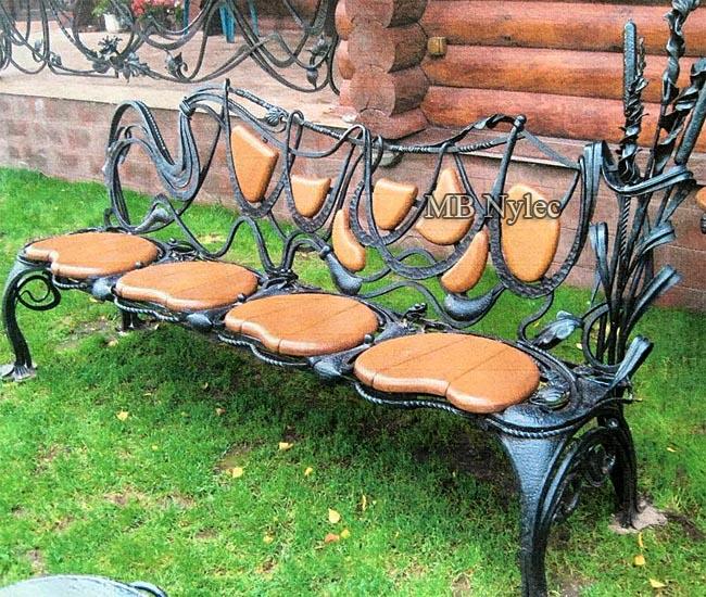 Designerska ławka kuta do ogrodu nad staw mk19