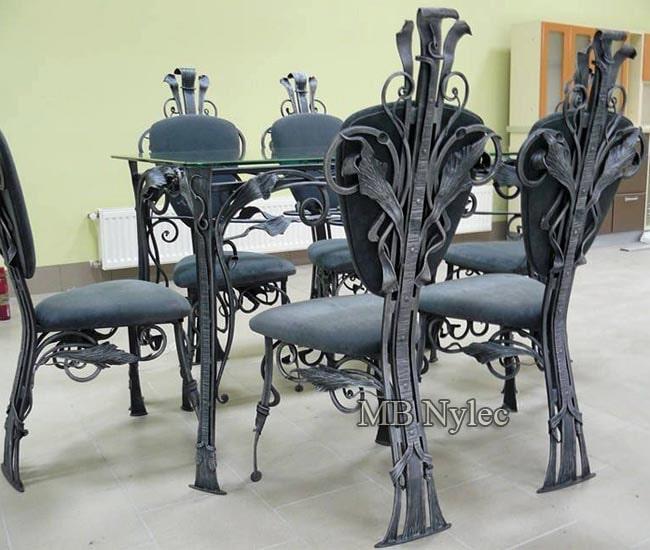 Stół i krzesła kute komplet mk28