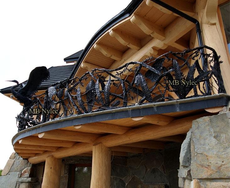 Balustrada myśliwska z czaplą kuta