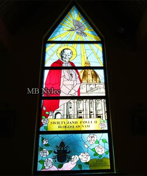 Witraż kościelny Jan Paweł 2 ołów