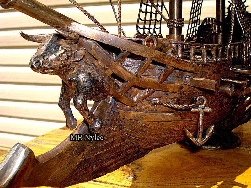 żaglowiec statek figura ze stali