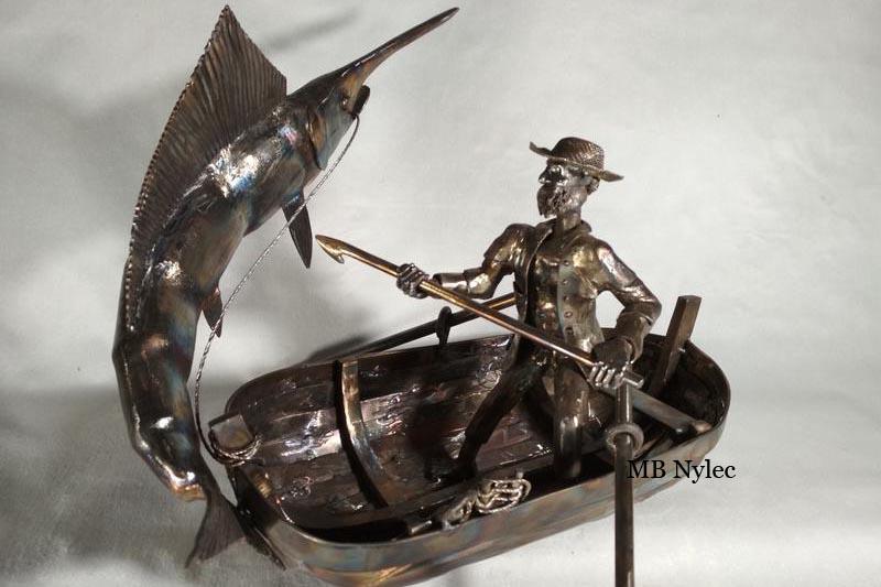 rzeźba rybak stary człowiek i morze