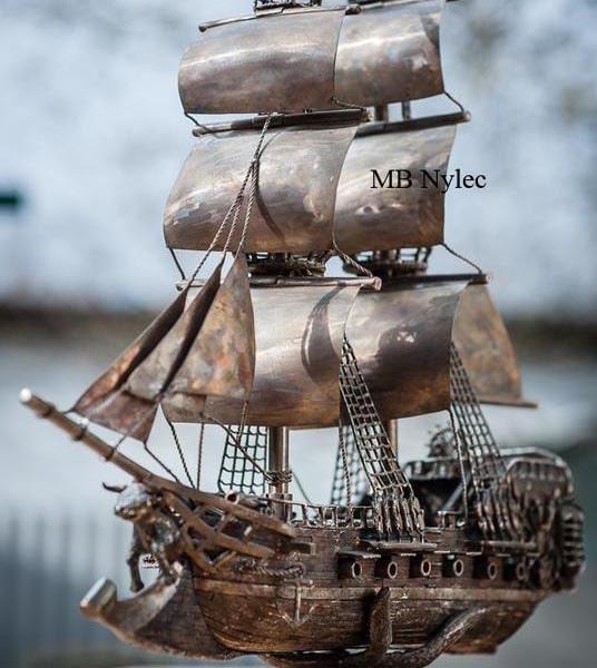 statek żaglowiec ze stali nierdzewnej kowalstwo artystyczne